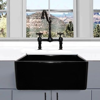 Highpoint Collection 24 Inch Black Single Bowl Rectangle Fireclay Farmhouse  Kitchen Sink