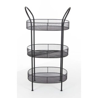 Benzara Black Metal 3-tier Tray Stand