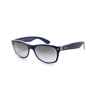 Ray-Ban New Wayfarer Color Mix RB2132 Unisex Blue/Transparent Frame Polarized Grey Gradient 52mm Lens Sunglasses