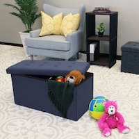 Seville Classics Foldable Tufted Storage Bench/Ottoman