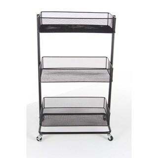 Benzara Black Iron 3-tier Tray Stand with Wheels
