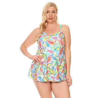 Famous Maker Mint Paisley Women's Plus Size Women's One Piece Swimdress