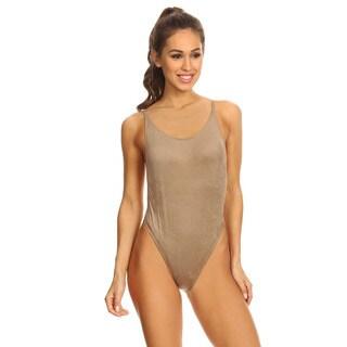 Famous Maker Mocha Suede Women's High Cut Vintage One Piece Swimsuit