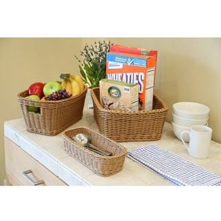 Seville Classics Nesting Wicker Weave Storage Basket Set 3-Piece, Light Brown