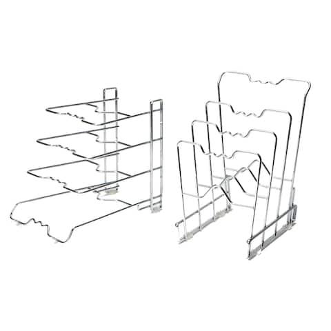 Seville Classics 4-Tier Pan Organizer Rack, Chrome (2-Pack)