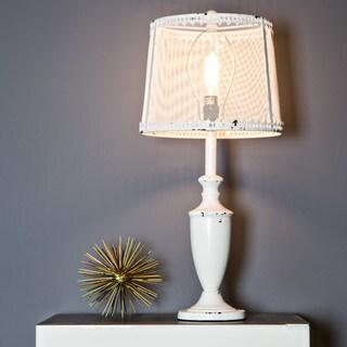 """28""""H Translucent Iron Mesh Shade & Urn-Style Base Table Lamp - White"""