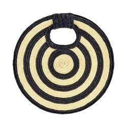 Women's San Diego Hat Company Circular Wheat Straw Clutch BSB1706 Natural/Black