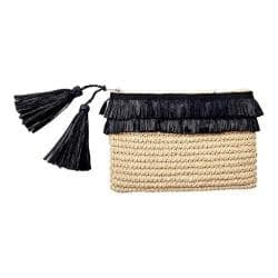 Women's San Diego Hat Company Crochet Paper Clutch w/ 2 Row Fray Opening BSB1712 Natural/Black|https://ak1.ostkcdn.com/images/products/153/662/P20555934.jpg?impolicy=medium