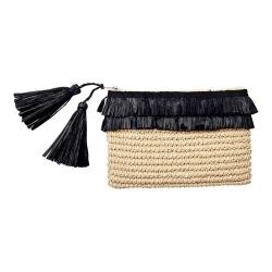 Women's San Diego Hat Company Crochet Paper Clutch w/ 2 Row Fray Opening BSB1712 Natural/Black