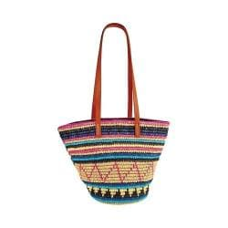 Women's San Diego Hat Company Paper Crochet Tote w/ Faux Leather Handles BSB1701 Multi