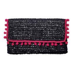 Women's San Diego Hat Company Rectangular Pom Clutch BSB1703 Black|https://ak1.ostkcdn.com/images/products/153/663/P20555963.jpg?impolicy=medium