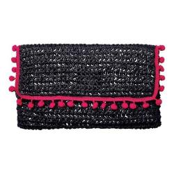 Women's San Diego Hat Company Rectangular Pom Clutch BSB1703 Black