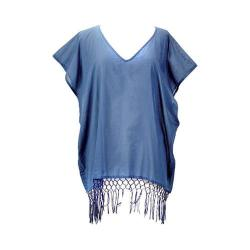 Women's San Diego Hat Company V-Neck Cotton Tunic with Fringe Hem BST1705 Denim