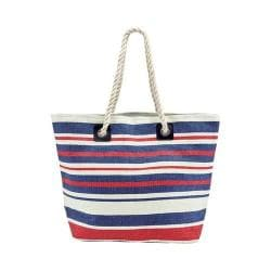 Women's San Diego Hat Company Woven Striped Tote with Rope Handles BSB1704 Navy/White