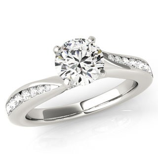 Scintilenora Graduated Diamond Cathedral Engagement Ring 18k Gold 1 1/3 TDW