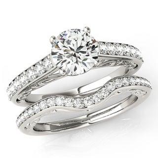 Scintilenora Curved Vintage Style Diamond Wedding Bridal Set 18k Gold 1 1/2 TDW