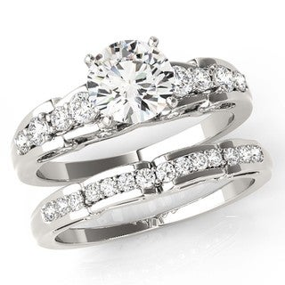 Scintilenora Cathedral Curve Graduated Diamond Bridal Wedding Set 18k Gold 1 1/2 TDW