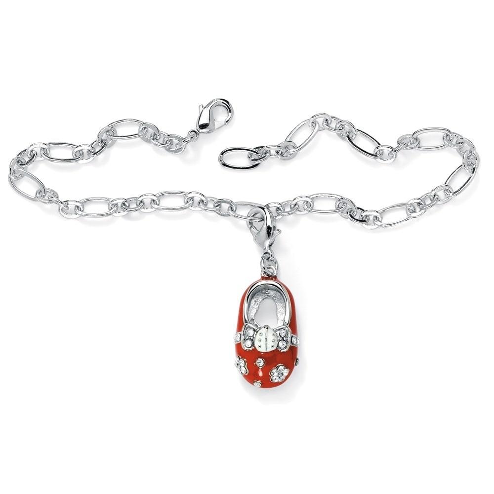 Palm Beach Jewelry Birthstone Silvertone Baby Shoe Charm ...