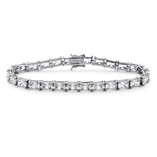 "13 TCW Emerald-Cut Cubic Zirconia Tennis Bracelet in Platinum over Sterling Silver 7.25"" Classic CZ"