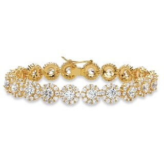 """24 TCW Round and Pave White Cubic Zirconia 14k Yellow Gold-Plated Halo Tennis Bracelet 7.5"""" Glam CZ"""