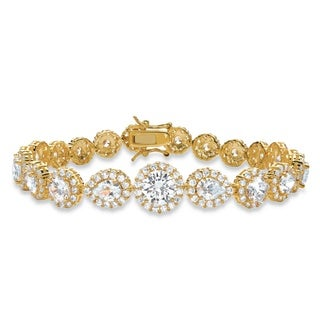 "16.96 TCW Round and Pear-Cut Cubic Zirconia Halo Tennis Bracelet 18k Yellow Gold-Plated 7.5"" Glam CZ"