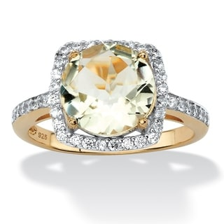 3.66 TCW Genuine Green Amethyst and Cubic Zirconia Halo Cocktail Ring in 14k Gold over .925 Sterling