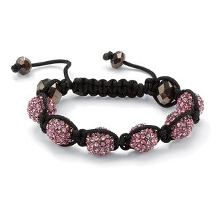 """Round Pink Crystal Glass Accent Black Macrame Rope Multi-Crystal Ball Tranquility Bracelet 8"""" Color Fun"""