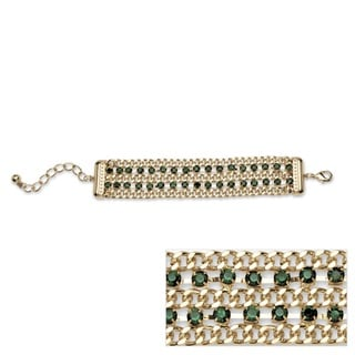 Green Crystal Triple Row Curb-Link Bracelet in Yellow Gold Tone Color Fun