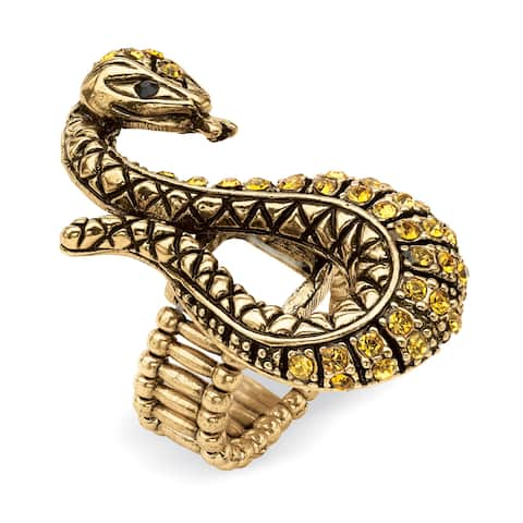 Crystal Serpent Stretch Ring in Antiqued Yellow Gold Tone Color Fun