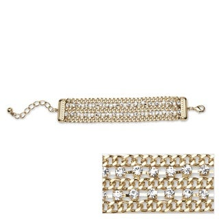 Crystal Triple Row Curb-Link Bracelet in Yellow Gold Tone Color Fun