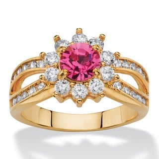 1.08 Tcw Round Rose Crystal And Cubic Zirconia Halo Cocktail Ring Color Fun