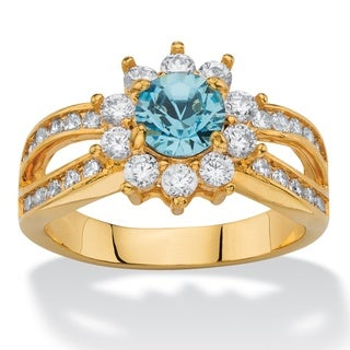 1.08 Tcw Round Aquamarine Blue Crystal And White Cubic Zirconia Halo Cocktail Ring C
