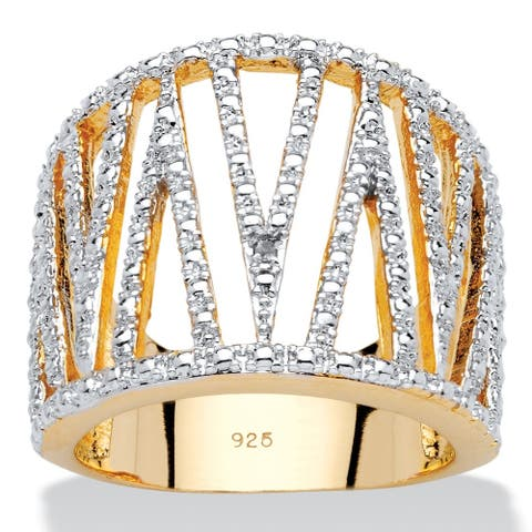"""Diamond Accent Cutout """"V"""" Cocktail Ring in 14k Gold over Sterling Silver"""