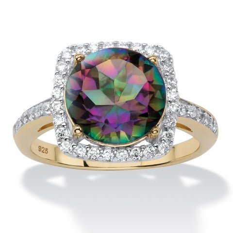 14K Gold over Sterling Silver Mystic Fire Quartz and CZ Ring