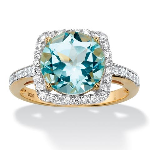 14K Yellow Gold over Silver Genuine Blue Topaz and Round CZ Ring