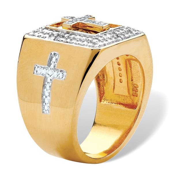 80697dbee8a27 Shop Men's 1/10 TCW Diamond Cross Two-Tone Square Ring in 14k Gold ...
