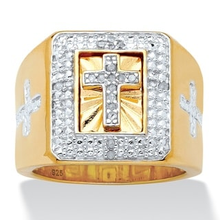 Men's 1/10 TCW Diamond Cross Two-Tone Square Ring in 14k Gold over Sterling Silver