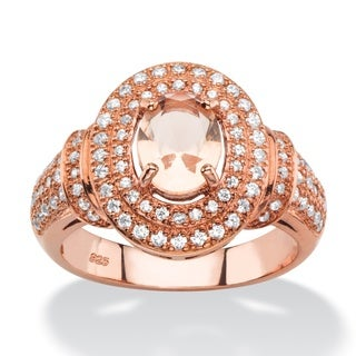 .61 TCW Oval-Cut Simulated Pink Morganite and Cubic Zirconia Halo Cocktail Ring in Rose Gold-Plated Naturalist