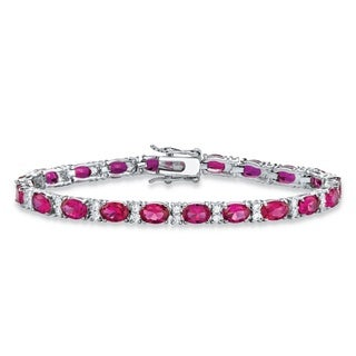 11.39 TCW Oval-Cut Rose Simulated Rhodolite Cubic Zirconia Interlocking-Link Tennis Bracelet Platinu Color Fun