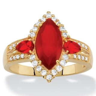 .33 TCW Marquise-Cut Simulated Red Ruby and Cubic Zirconia Halo Cocktail Ring 18k Yellow Gold-Plated Color Fun
