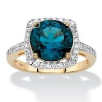 14K Gold over Sterling Silver Blue Topaz and Cubic Zirconia Ring