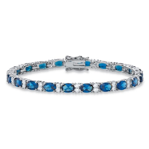 1.39 TCW Oval-Cut Simulated Montana Blue Sapphire and Cubic Zirconia Tennis Bracelet Platinum-Plated Color Fun