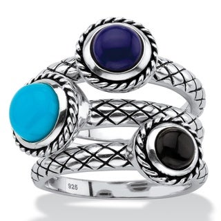 Round Simulated Turquoise, Onyx and Blue Lapis 3-Piece Textured Rope Cocktail Ring Set in Antiqued S Naturalist