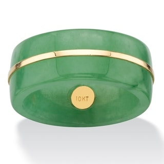 10K Yellow Gold Jade Ring 9mm
