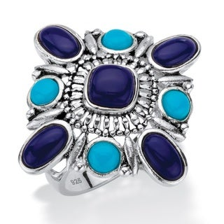 Multi-Cut Simulated Turquoise and Blue Lapis Textured Cocktail Ring in Antiqued Sterling Silver Naturalist