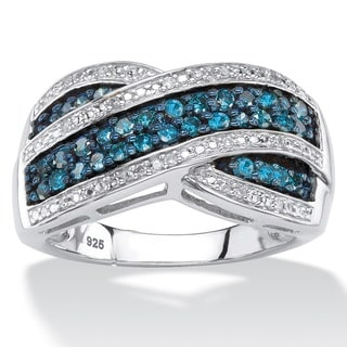 1/2 TCW Blue and White Diamond Multi-Row Crossover Cocktail Ring in Platinum over Sterling Silver