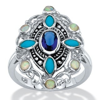 Oval-Cut Simulated Blue Sapphire, Turquoise and Opal Scrolled Cocktail Ring in Antiqued Sterling Sil Naturalist