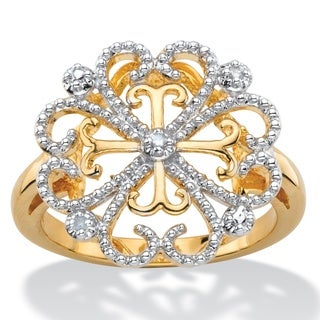 White Diamond Accent Two-Tone Pave-Style Vintage-Inspired Floral Heart Cocktail Ring