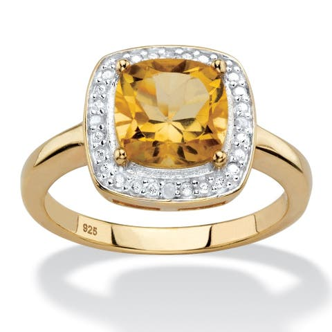 14K Gold over Sterling Silver Citrine and Diamond Accent Halo Ring