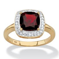 14K Gold over Sterling Silver Garnet and Diamond Accent Halo Ring